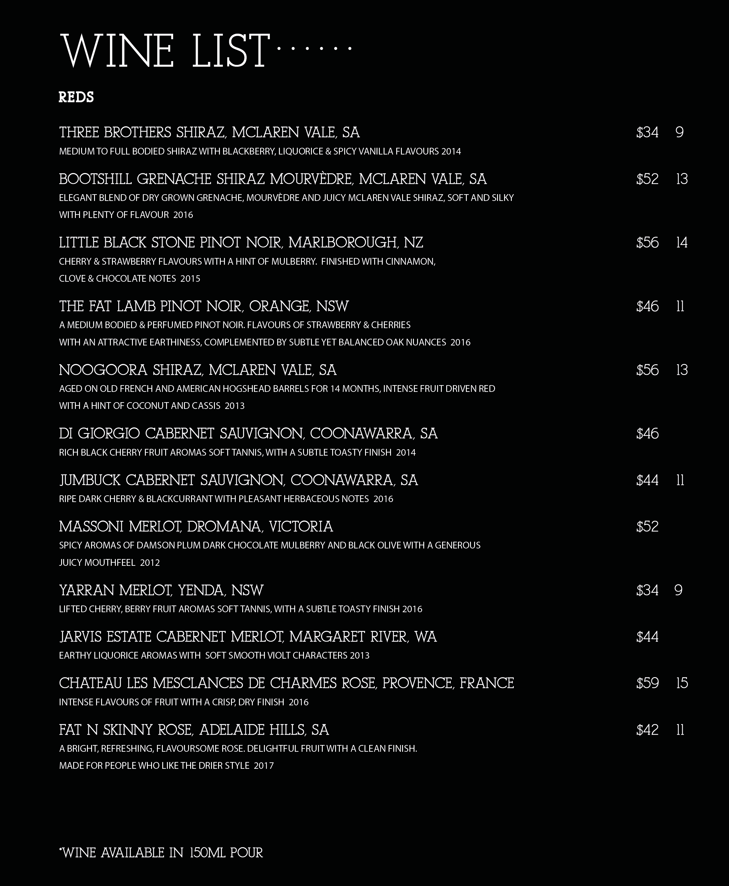 Wine List 2aug 2018 Mr Jones Menu 09