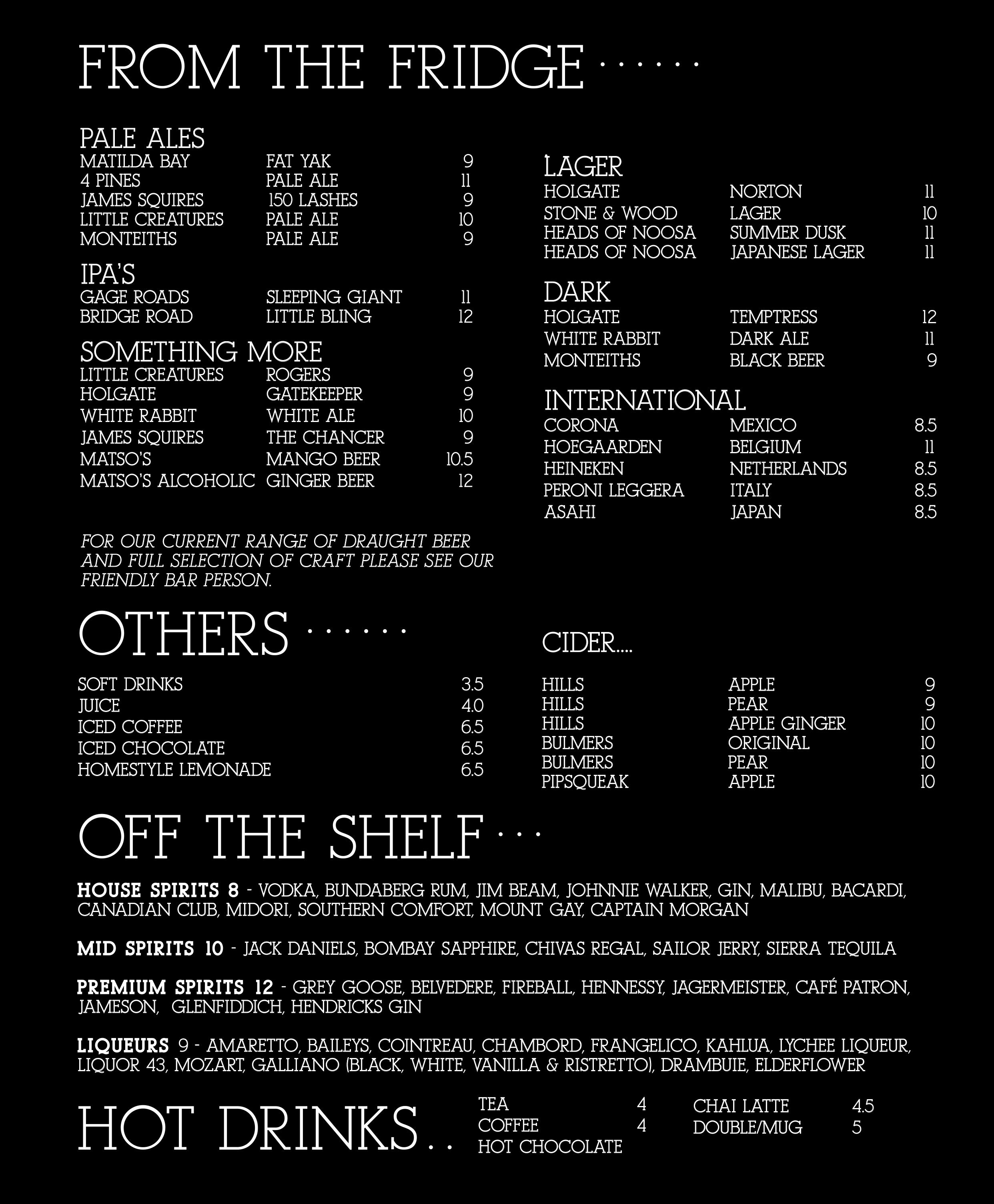 Beer List Sep 2019 Menu Copy